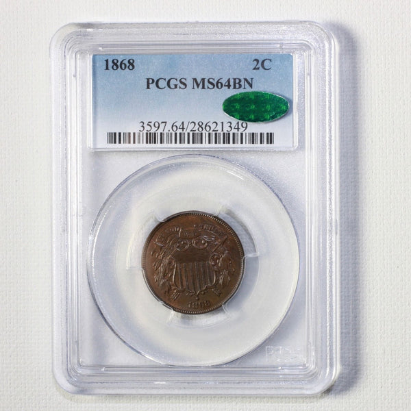 1868 Two Cent Piece Pcgs & Cac Ms64 Bn #1349418 Coin