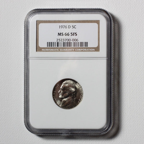 1976 D Jefferson Nickel Ngc Ms66 5Fs *rev Tyes* #0006178 Coin