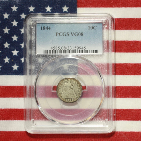 1844 Seated Liberty Dime Pcgs Vg8 *rev Tyes* #9945279 Coin