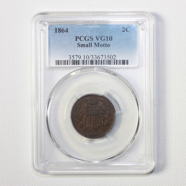 1864 Two Cent Piece Small Motto Pcgs Vg10 #3502297 Coin