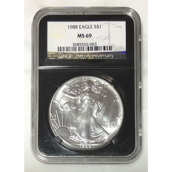 1988 Silver Eagle Ngc Ms69 *rev Tyes* #606340 Coin