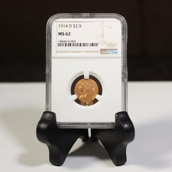 1914 D Indian $2.50 Gold Ngc Ms62 *rev Tyes* #0005470 Coin