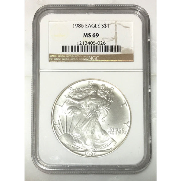 1986 Silver Eagle Ngc Ms69 *rev Tyes* #502645 Coin