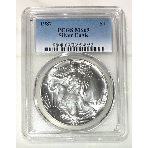 1987 Silver Eagle Pcgs Ms69 *rev Tyes* #495240 Coin