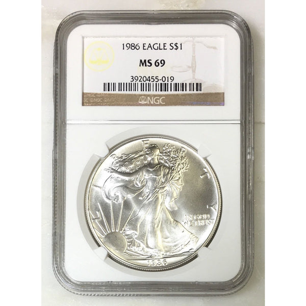 1986 Silver Eagle Ngc Ms69 *rev Tyes* #5019 Coin