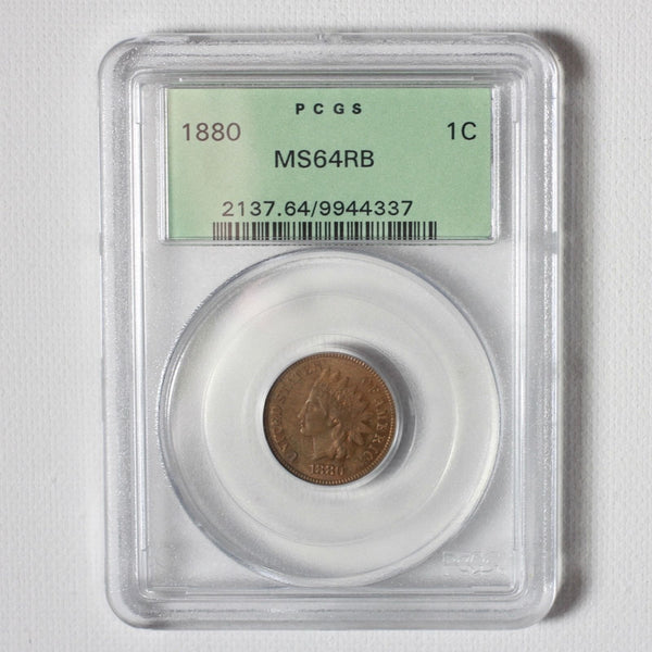 1880 Indian Head Cent Pcgs Ms64Rb *rev Tyes* #4337300 Coin