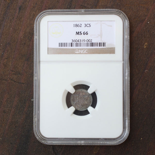 1862 Three Cent Silver Ngc Ms66 *rev Tyes* #9002900 Coin