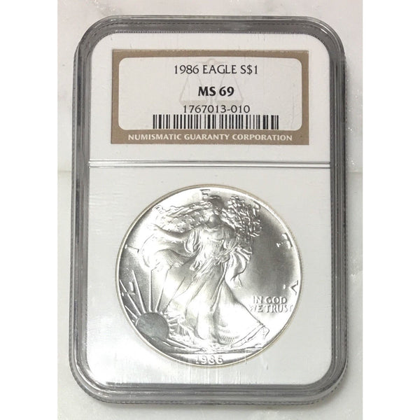 1986 Silver Eagle Ngc Ms69 *rev Tyes* #301052 Coin