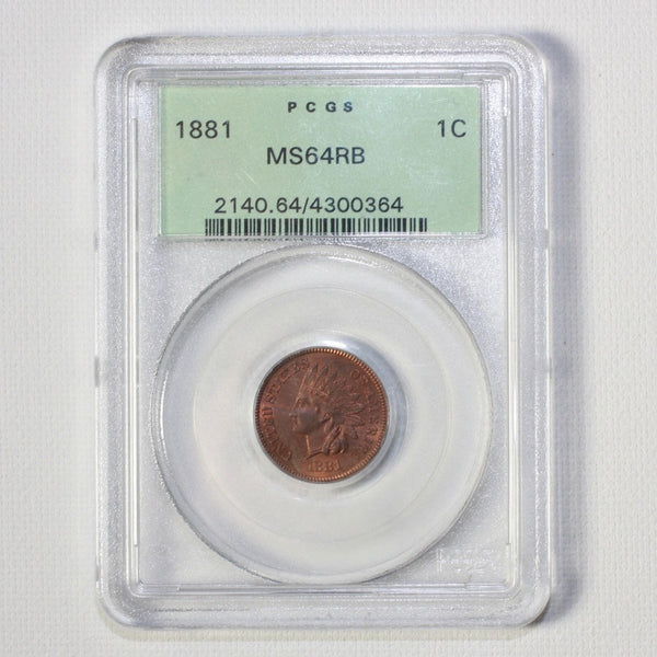 1881 Indian Head Cent Pcgs Ms64Rb *rev Tyes* #0364250 Coin