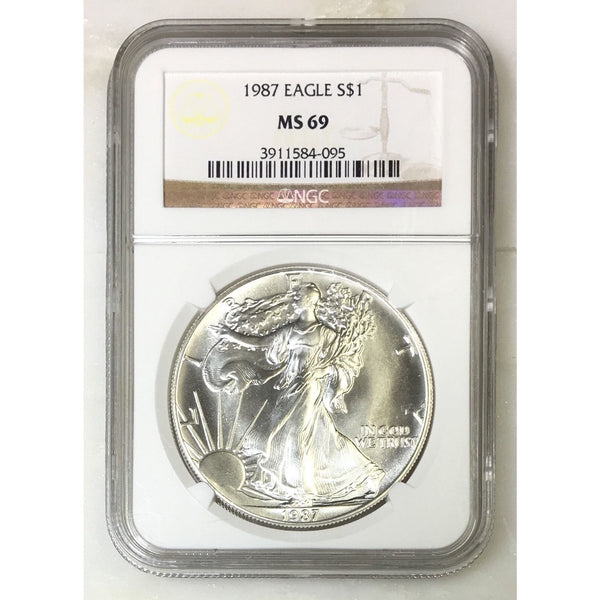 1987 Silver Eagle Ngc Ms69 *rev Tyes* #409533 Coin
