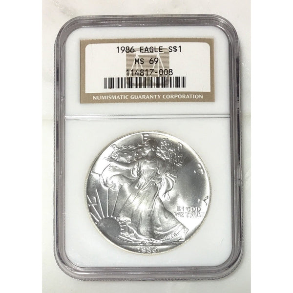 1986 Silver Eagle Ngc Ms69 *rev Tyes* #700850 Coin