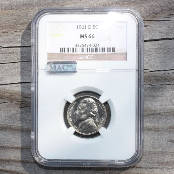 1961 D Jefferson Nickel Ngc & Mac Ms66 *rev Tyes* #4024321 Coin