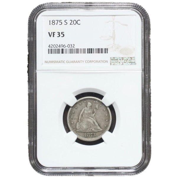 1875 S Seated Liberty 20 Cent Piece Ngc Vf35 *rev Tyes* #6032206 Coin