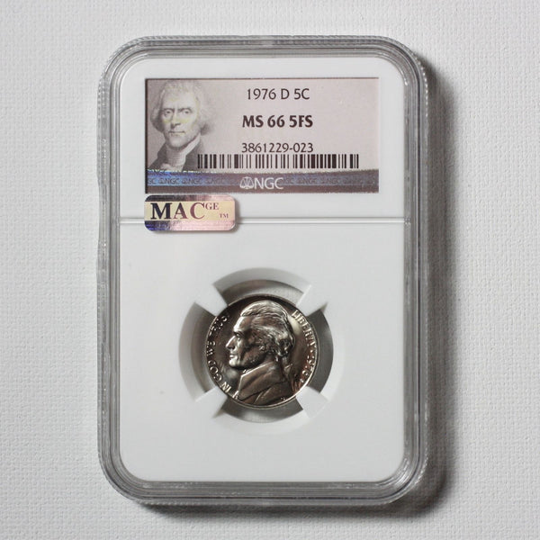 1976 D Jefferson Nickel Ngc & Mac Ms66 5Fs *rev Tyes* #9023172 Coin