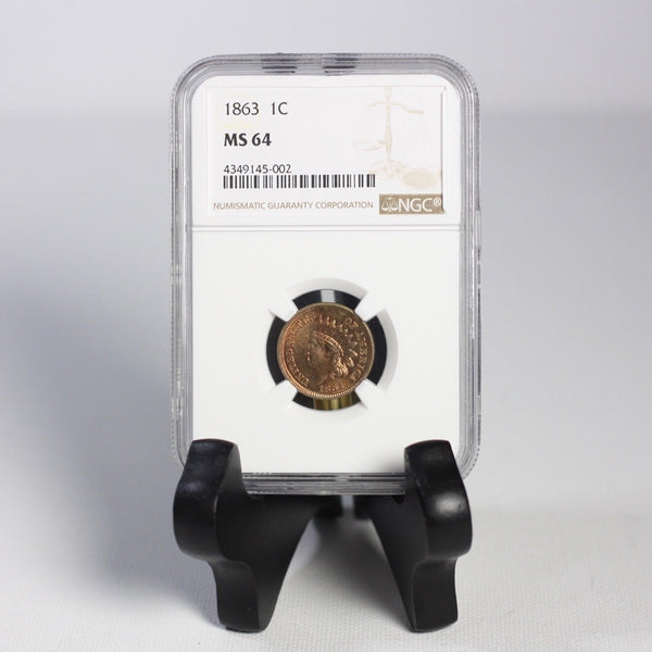1863 1C Indian Head Cent Ngc Ms64 *rev Tyes* #5002295 Coin