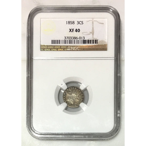 1858 Three Cent Silver Ngc Xf40 *rev Tyes* #6013131 Coin