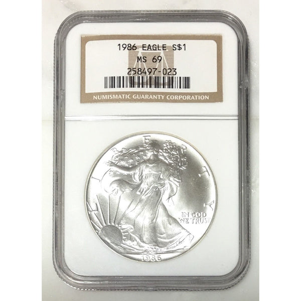 1986 Silver Eagle Ngc Ms69 *rev Tyes* #702350 Coin