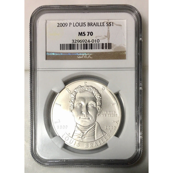 2009 Louis Braille Dollar Ngc Ms70 #401046 Coin