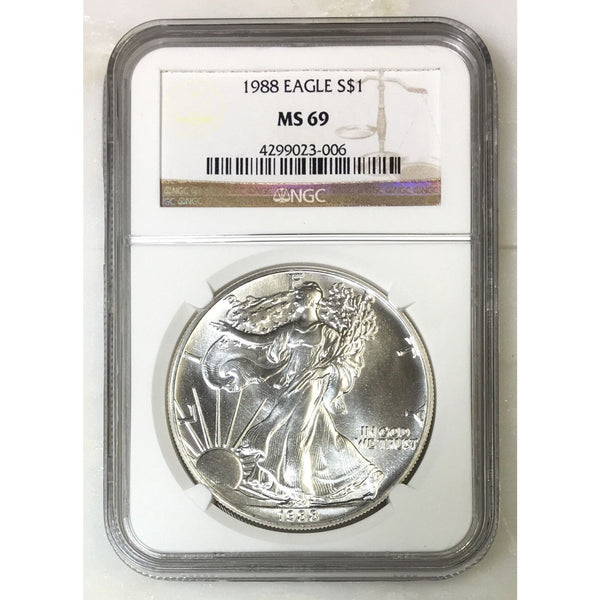 1988 Silver Eagle Ngc Ms69 *rev Tyes* #300640 Coin
