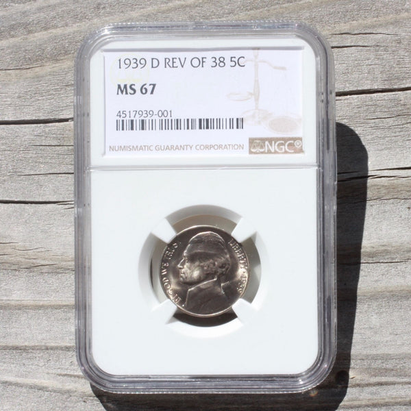 1939 D Rev Of 38 Jefferson Nickel Ngc Ms67 *rev Tyes* #9001261 Coin