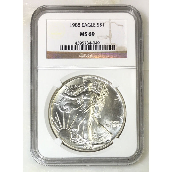 1988 Silver Eagle Ngc Ms69 *rev Tyes* #4049 Coin