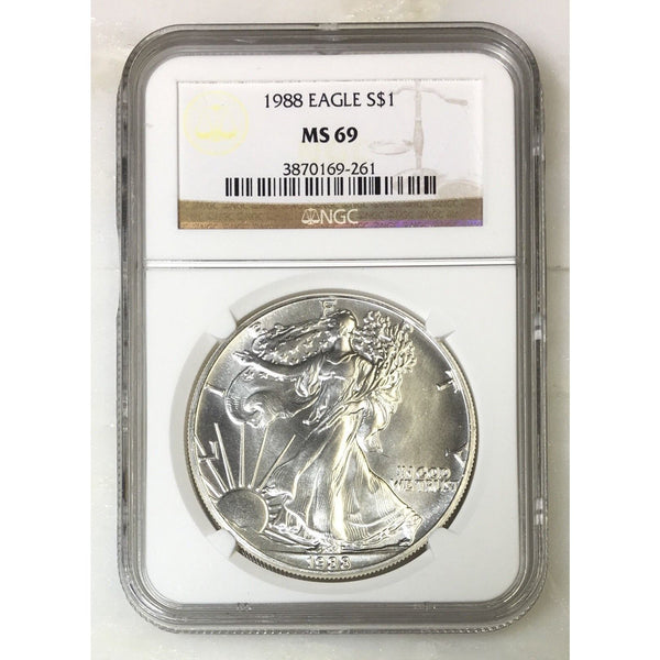 1988 Silver Eagle Ngc Ms69 *rev Tyes* #9261 Coin
