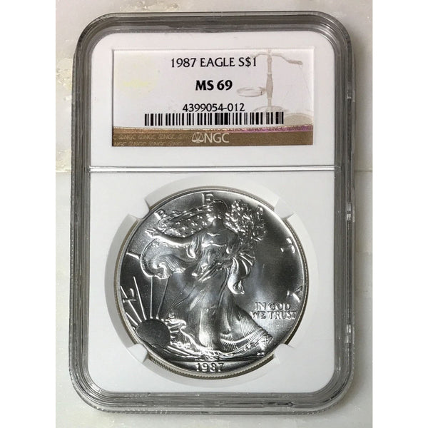 1987 Silver Eagle Ngc Ms69 *rev Tyes* #401236 Coin