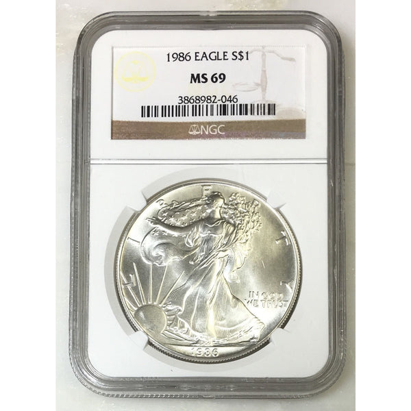 1986 Silver Eagle Ngc Ms69 *rev Tyes* #2046 Coin
