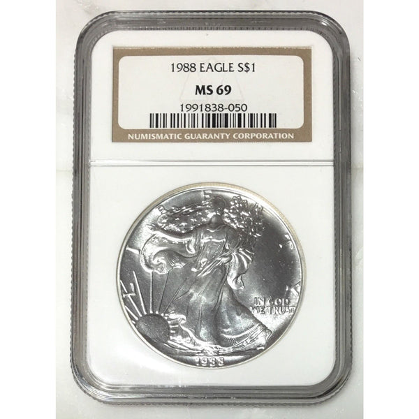 1988 Silver Eagle Ngc Ms69 *rev Tyes* #805053 Coin