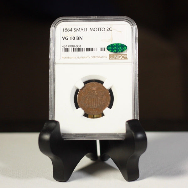 1864 Sm Motto Two Cent Piece Ngc & Cac Vg10 Bn #9001339 Coin