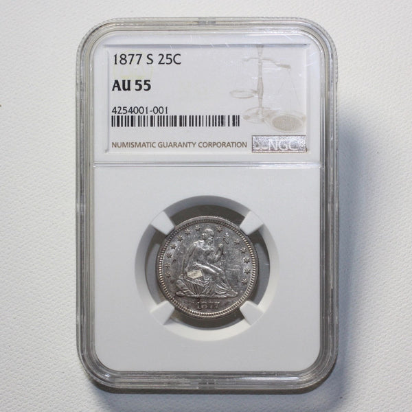 1877 S Seated Liberty Quarter Ngc Au55 *rev Tyes* #1001150 Coin
