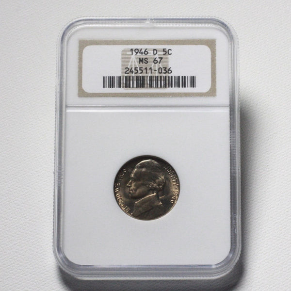 1946 D Jefferson Nickel Ngc Ms67 *rev Tyes* #1036275 Coin