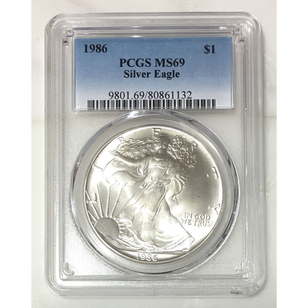 1986 Silver Eagle Pcgs Ms69 *rev Tyes* #113254 Coin