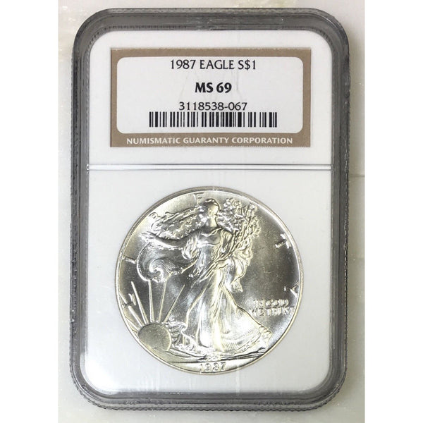 1987 Silver Eagle Ngc Ms69 *rev Tyes* #806733 Coin