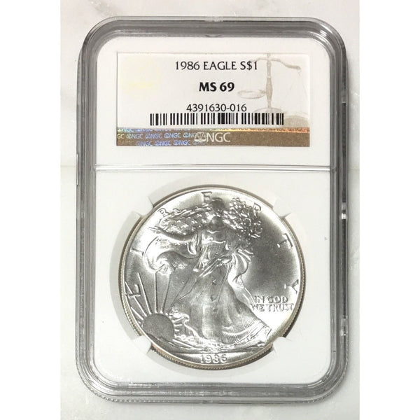 1986 Silver Eagle Ngc Ms69 *rev Tyes* #001651 Coin