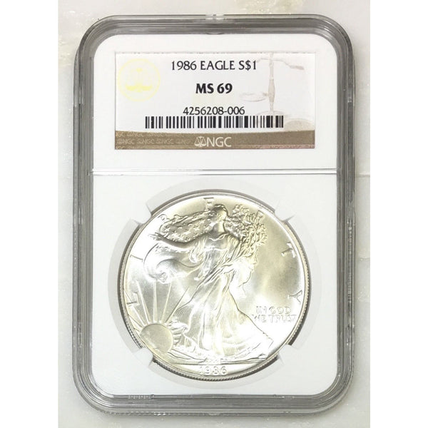 1986 Silver Eagle Ngc Ms69 *rev Tyes* #800654 Coin