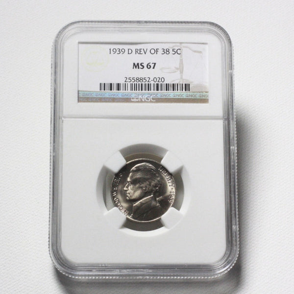 1939 D Rev Of 38 Jefferson Nickel Ngc Ms67 *rev Tyes* #2020275 Coin