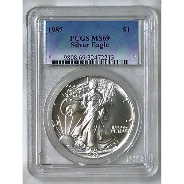 1987 Silver Eagle Dollar Pcgs Ms69 *rev Tyes* #221342 Coin