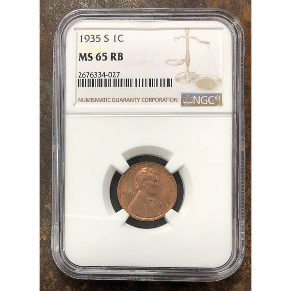 1935 S Lincoln Cent Ms 65 Rb!! Ngc **rev Tye** #402741 Coin
