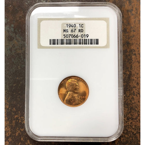 1940 Lincoln Cent Ngc Ms67 Rd *rev Tyes* #6019100 Coin