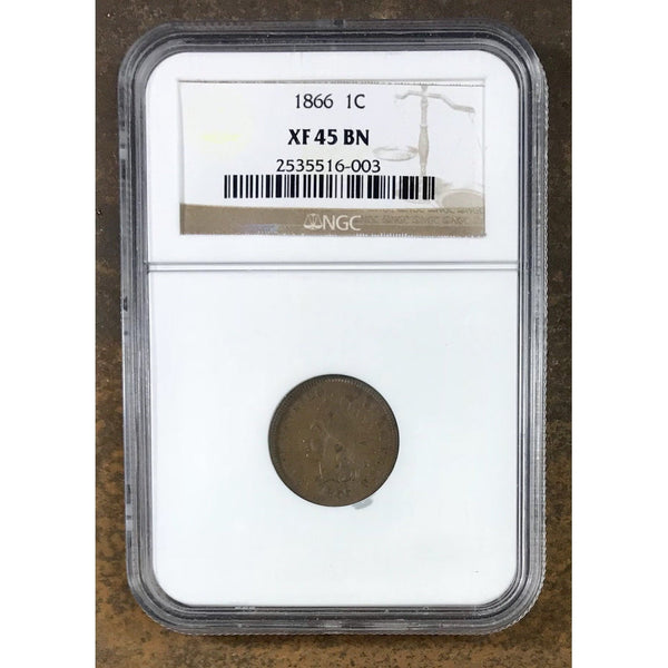 1866 Indian Head Cent Ngc Xf45 *rev Tyes* #6003180 Coin