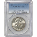 1954 Franklin Half Pcgs Ms65Fbl #*rev Tyes* 598976 Coin