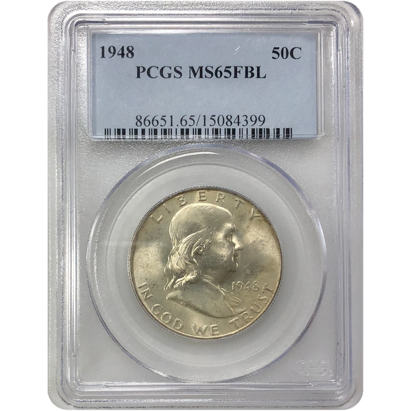 1948 Franklin Half Pcgs Ms65Fbl *rev Tyes* #439999 Coin