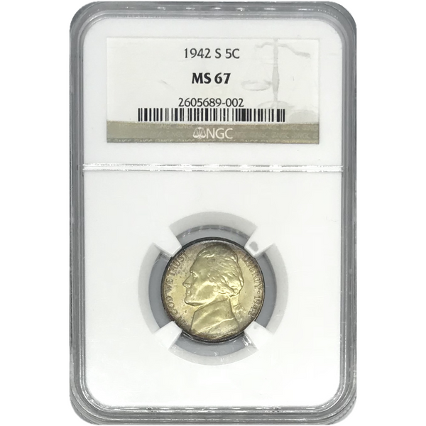 1942 S Jefferson Nickel Ngc Ms67 *rev Tyes* #900273 Coin