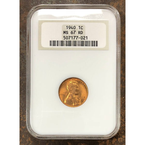 1940 Lincoln Cent Ngc Ms67 Rd *rev Tyes* #7021