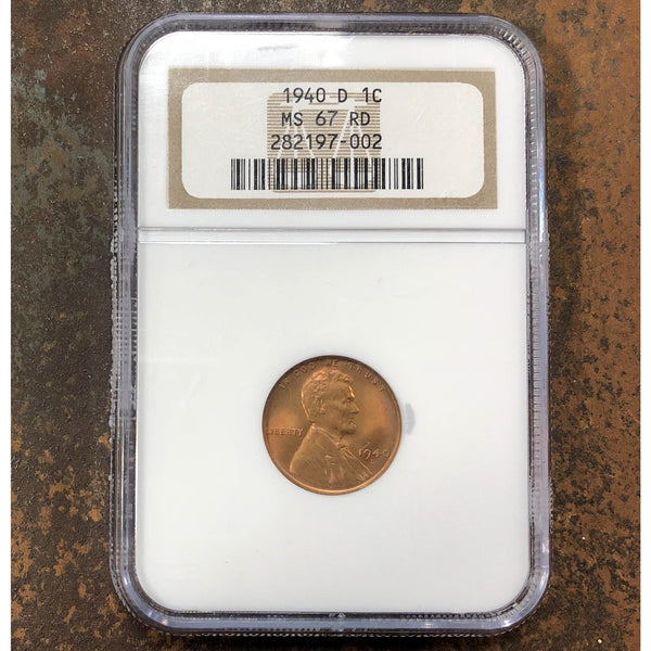 1940 D Lincoln Cent Ngc Ms67Rd *rev Tyes* #700290 Coin