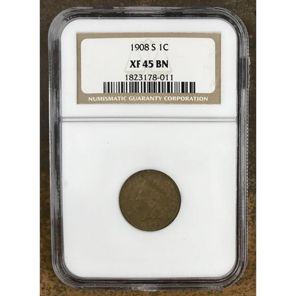 1908 S Indian Head Cent Ngc Xf45 Bn *rev Tyes* #8011180 Coin