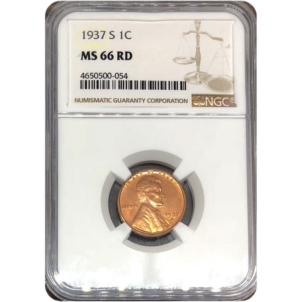 1937 S Lincoln Cent Ngc Ms 66 Rd *rev Tyes* #005430