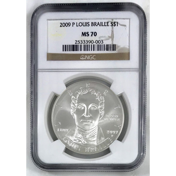 2009 P Louis Braille Dollar Ngc Ms70 000343 Coin