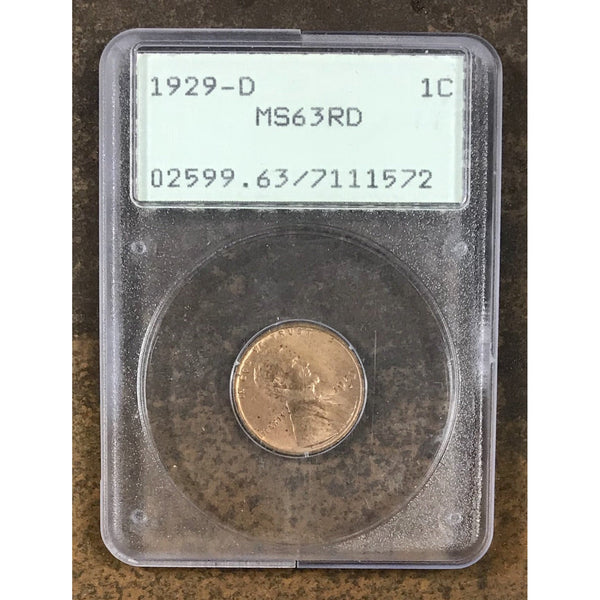 1929 D Lincoln Cent Pcgs Ms63 Rd *rev Tyes* #157288